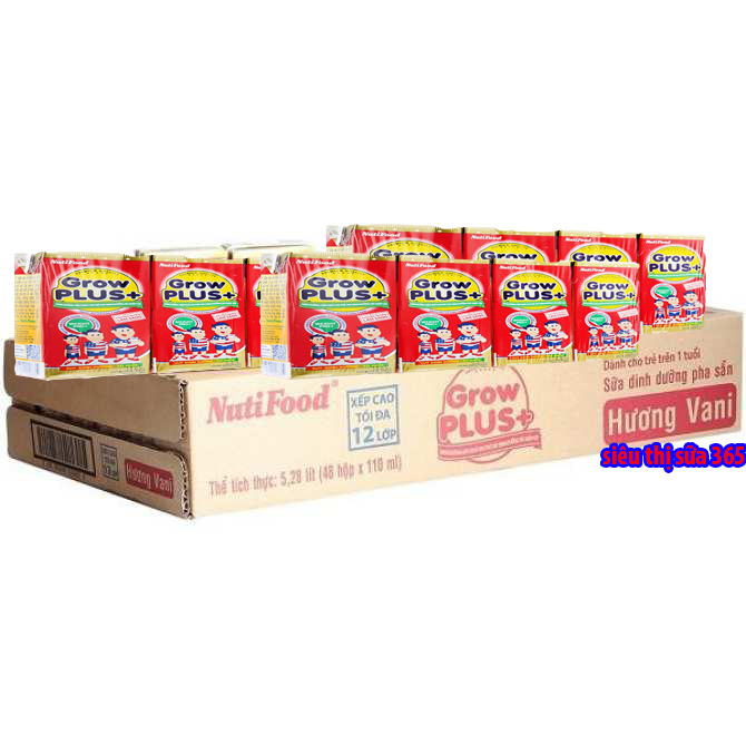 Sữa bột pha sẵn Nuti Grow Plus đỏ 110ml x 48 Hộp : Dinh dưỡng cho trẻ suy dinh dưỡng thấp còi từ 12 tháng tuổi