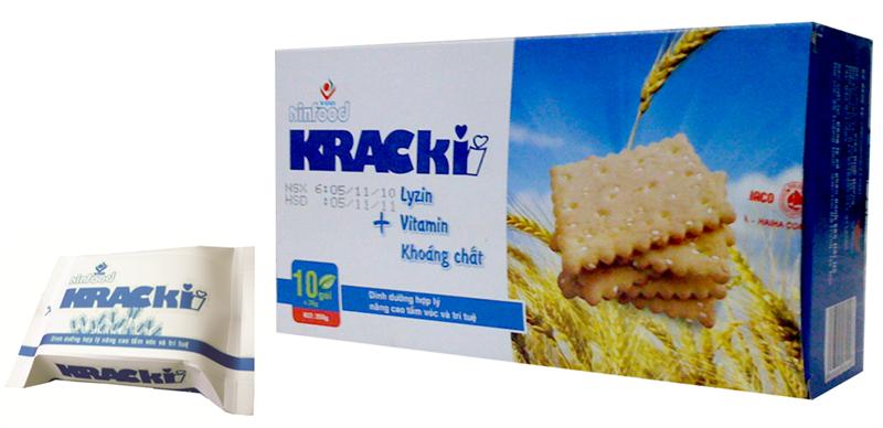 Bánh quy Krackii 250 Gr : bổ sung Lysine , vi tamin và khoáng chất , thích hợp cho mọi lứa tuổi, đặc biêt trẻ 2- 5 tuổi