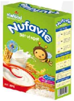 Bột ăn dặm Nufavie 250 gr vị ngọt : Bột ăn dặm cho trẻ 6 -24 tháng tuổi