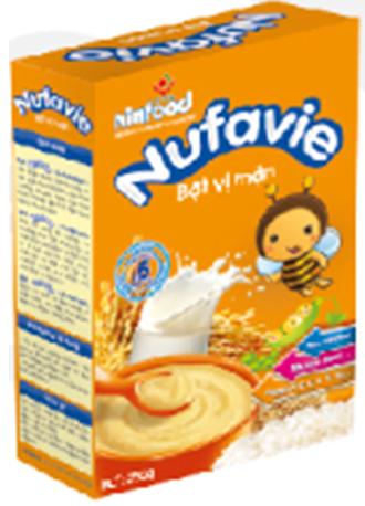 Bột ăn dặm Nufavie vị mặn 250 gr : Cung cấp năng lượng và bổ sung vi chất cho trẻ 6- 24 tháng tuổi