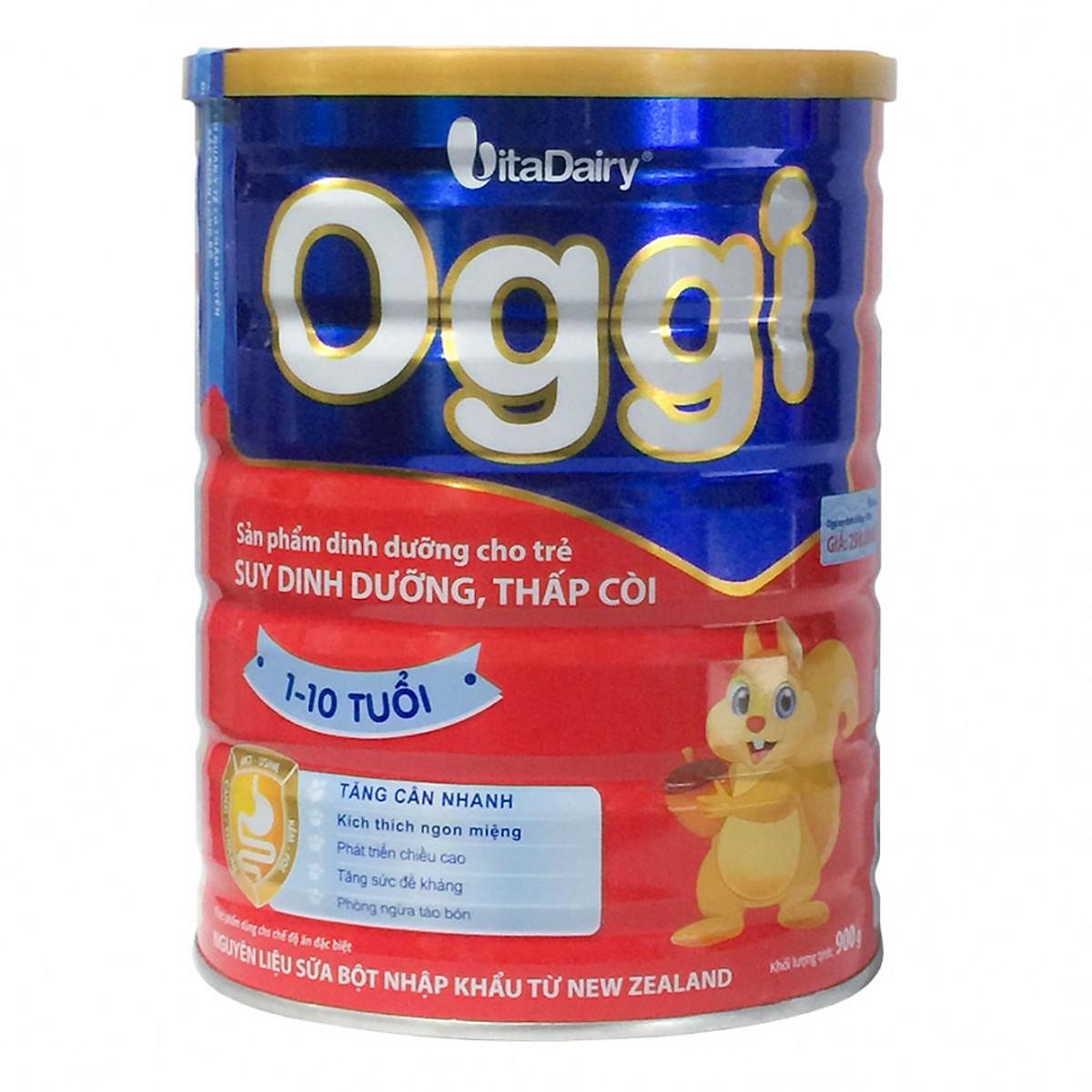 Sữa OGGI 900 gr : Dinh dưỡng cho trẻ suy dinh dưỡng , thấp còi từ 1 đến 10 tuổi