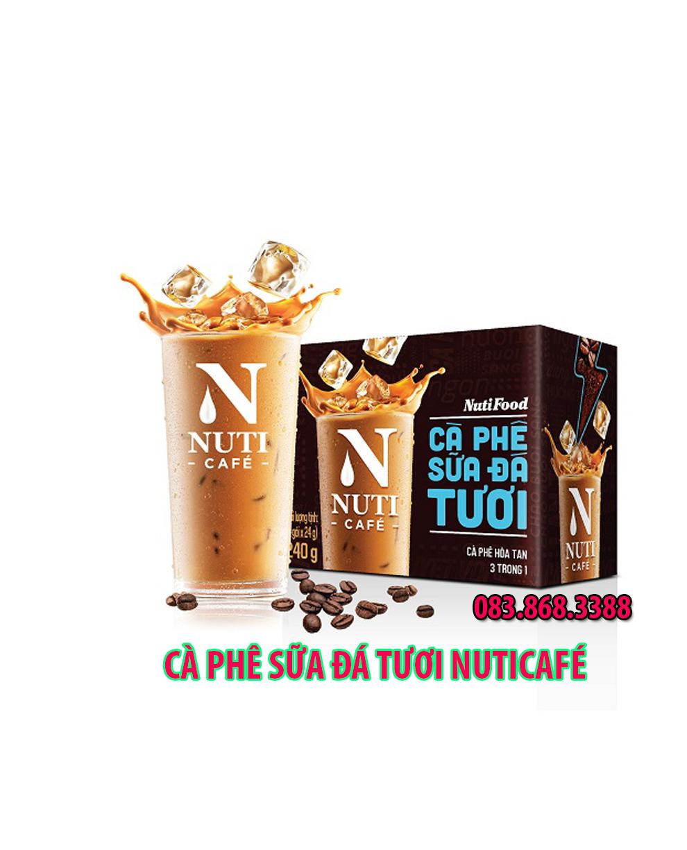 Cà phê 3 trong1 uống liền : Cà Phê Sữa Đá Tươi NUTICAFÉ , đóng gói 24 Gr / gói , hộp 10 gói