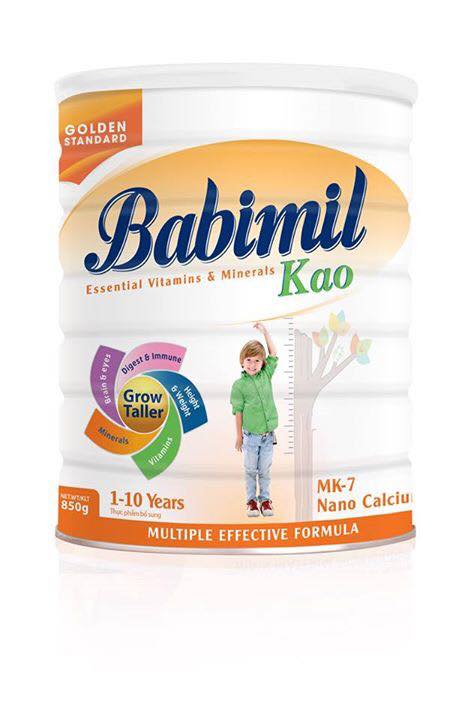 BABIMIL Kao 700 Gr : sữa cho trẻ 1- 10 tuổi , phù hợp với trẻ thiếu chiều cao, chậm lớn , gày yếu, biếng ăn