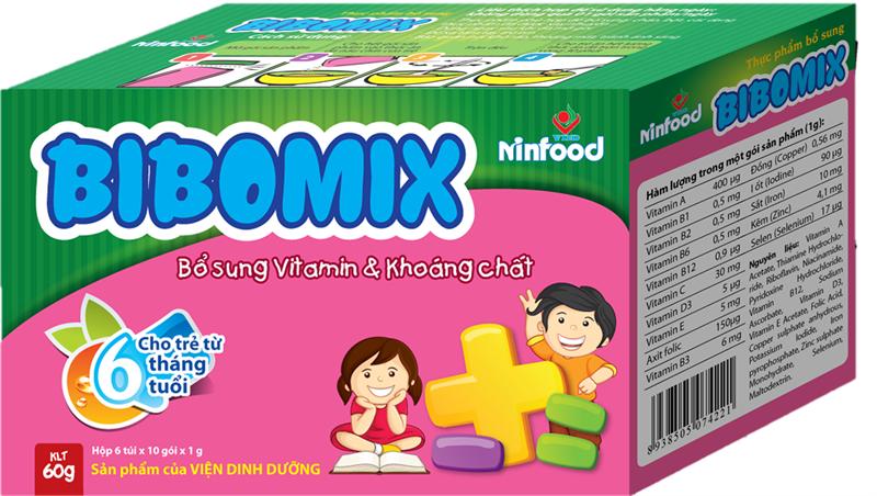 Bibomix : Bổ sung hỗn hợp đa vitamin và khoáng chất, dùng hàng ngày cho trẻ 6 - 60 tháng tuổi