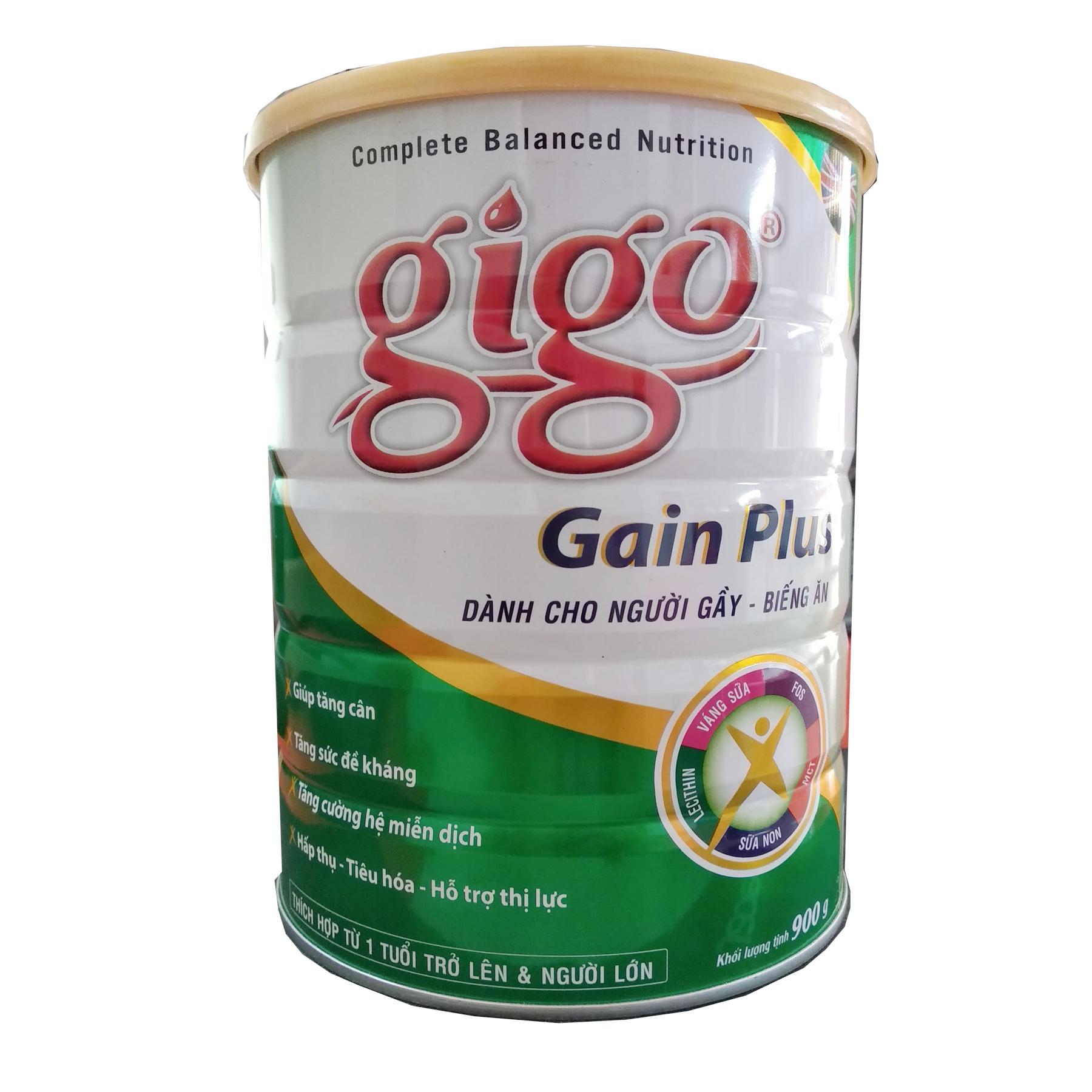Gigo GAIN Plus 900 gr : Dinh dưỡng cho người gầy có nhu cầu tăng cân, cho người từ 1 tuổi trở lên