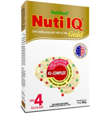 sữa Nuti IQ Gold step 4 - sữa tăng cường DHA cho trẻ 2-6 tuổi phát triển trí não, thị giác