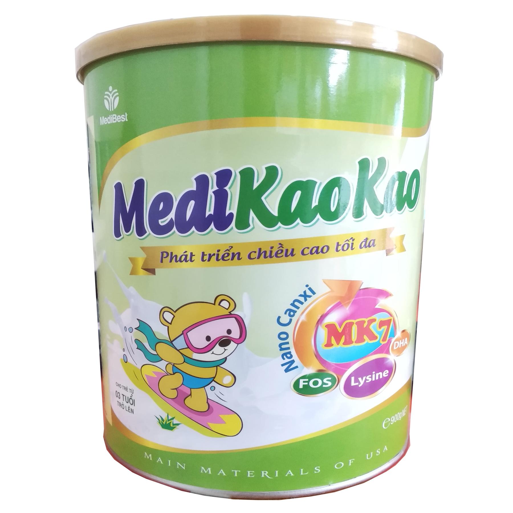 MediKaoKao 900 Gr : Sữa y tế hỗ trợ phát triển chiều cao , dùng cho trẻ từ 3 tuổi