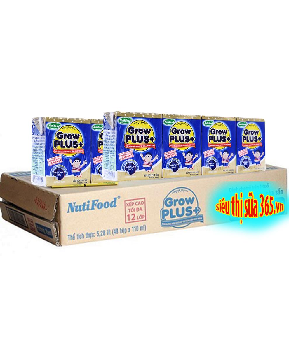 Sữa bột pha sẵn Nuti Grow Plus xanh 110 Ml x 48 hộp: dinh dưỡng cho trẻ từ 12 tháng tăng cân khỏe mạnh