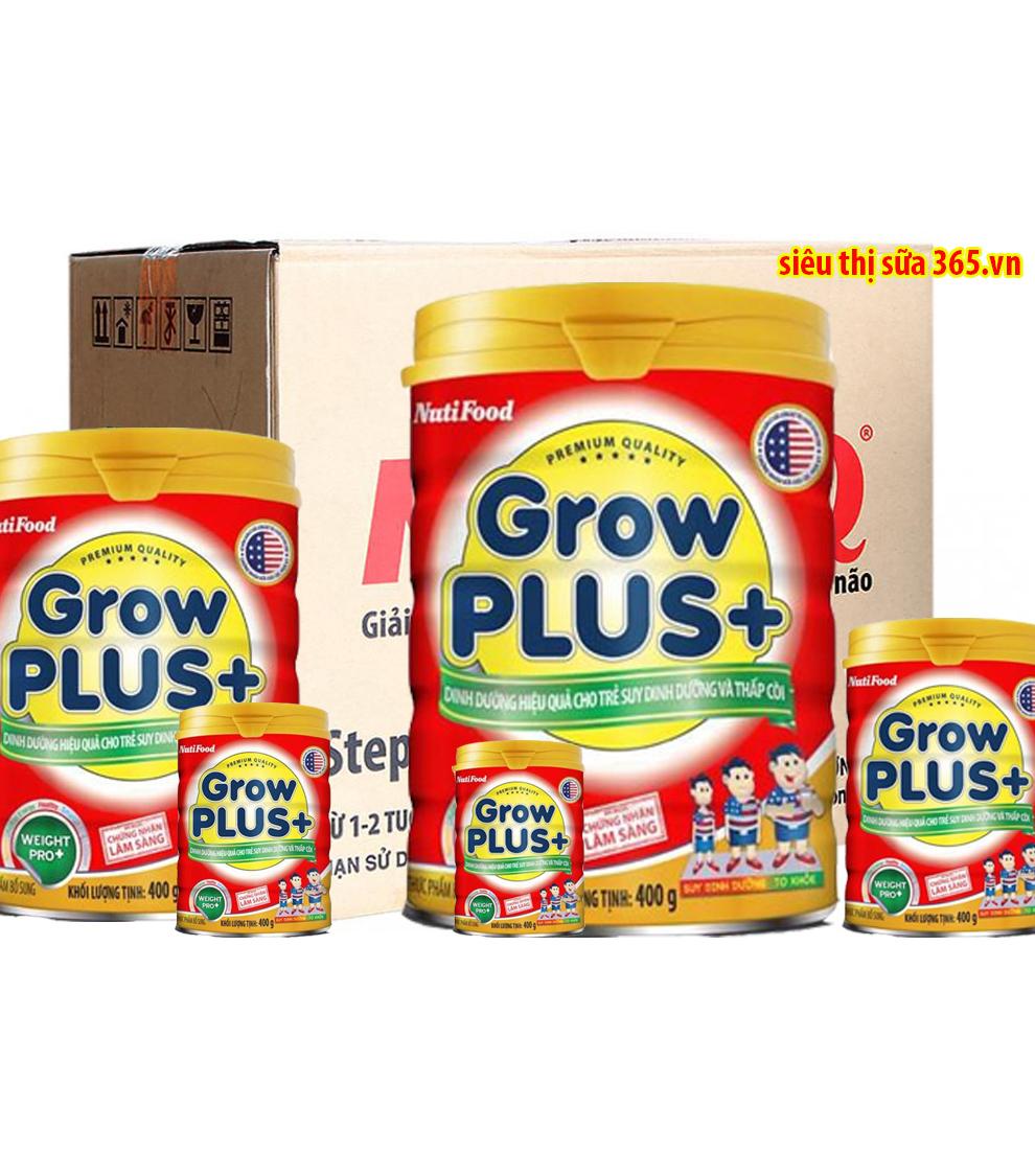 12 lon NutiFood Grow Plus + đỏ 900 Gr : sữa công thức cho trẻ suy dinh dưỡng từ 12 tháng tuổi