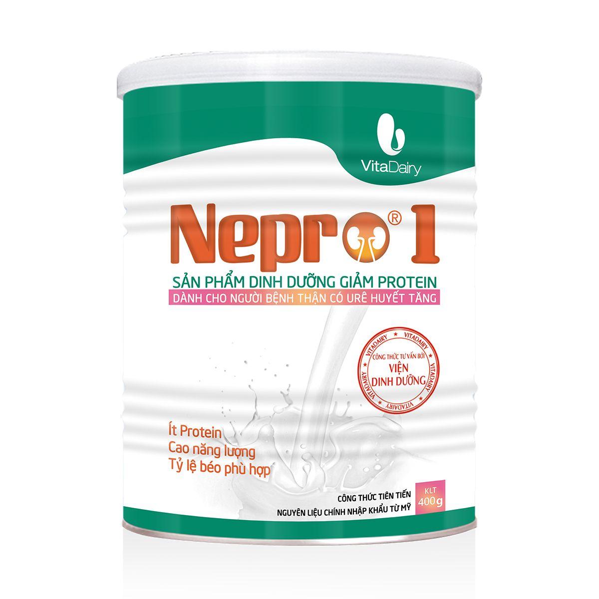 Nepro 1 400 gr : Dinh dưỡng y tế giảm Protein, dùng cho người bệnh thận chưa chạy lọc máu ngoài