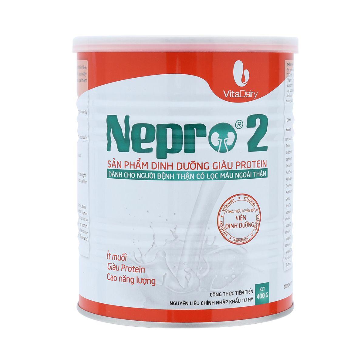 Nepro 2 400 gr : Dinh dưỡng y tế dùng hàng ngày cho bệnh nhân chạy thận nhân tạo ( lọc máu)