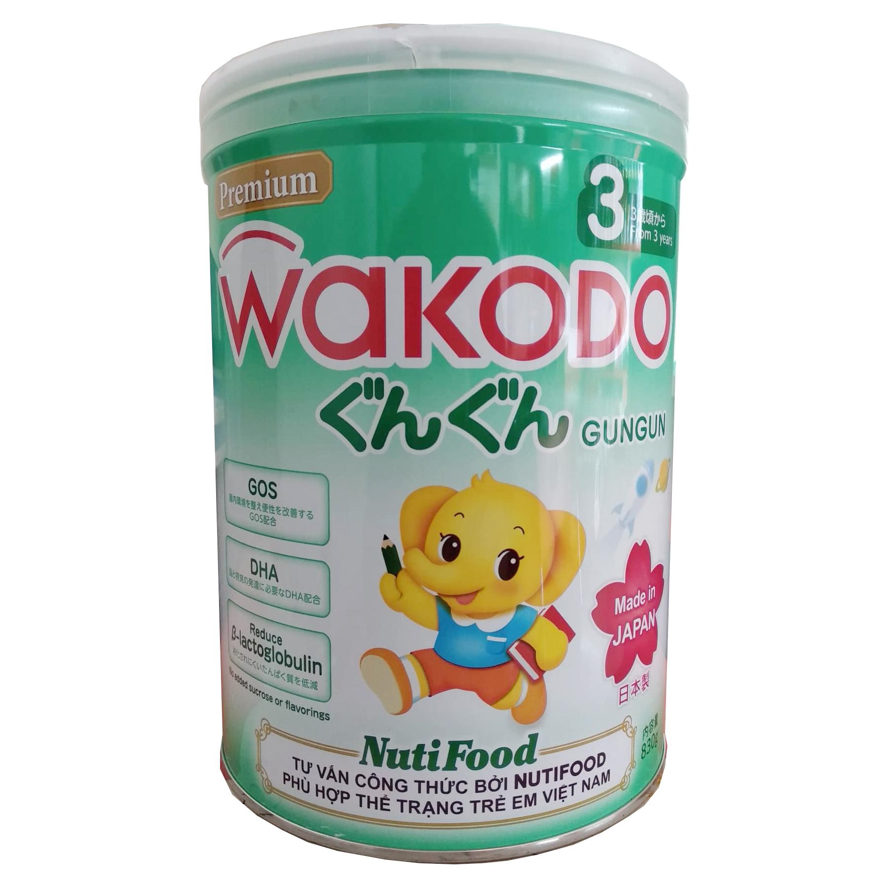 Sữa Wakodo Gungun 3 830 Gr ( Made in Japan ) : Sữa tăng trưởng cho trẻ từ 3 tuổi trở lên